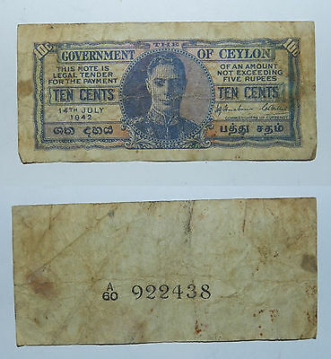 Ceylon :  Ten Cents Banknote 1942