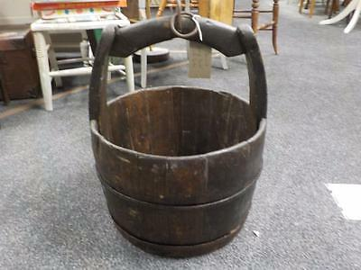 Lovely Antique / Vintage Well Bucked Metal Banded Bucket / Log Bucket