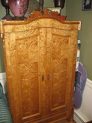 Original antique blonde burl wood Biedermeier ARMOIRE / Wardrobe ornate carved