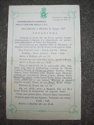 1927 Piroscafo Neptunia Programma Dell'escursione A Bursa In Turchia Con Menu'