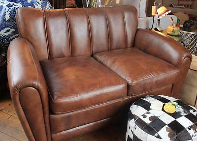 Brown Leather Club Sofa Chair - 2 Seater - Vintage Styling - Art Deco style