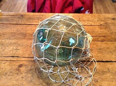 "Antique Japanese Hand Blown Glass Fishing Net Nautical Float 30"" Net"