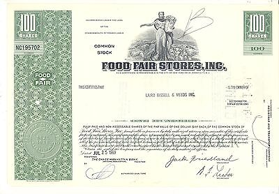 FOOD FAIR STORES, Inc. 100 Shares Stock Certificate