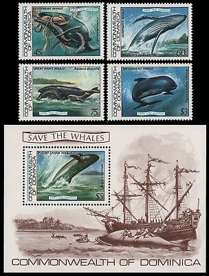 Dominica 1983 - Mi-Nr. 805-808 & Block 81 ** - MNH - Wale / Whales