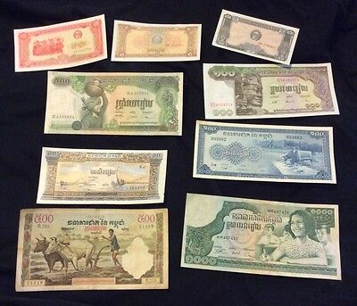 Cambodia Bank Note Lot 1957-1973 Mixed Lot Vtg 100 500 Notes