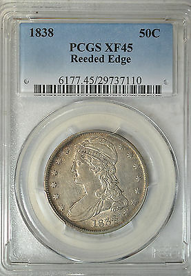 1838 Capped Bust half dollar, Reeded Edge, PCGS XF45