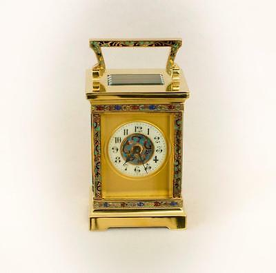 R & Co. CHAMPLEVE ENAMEL ANTIQUE FRENCH CARRIAGE CLOCK  c.1895 [#683]