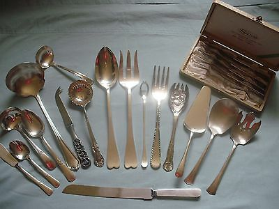 (22) Silverplate/Antique/Stainless Serving Pieces, Mixed Lot