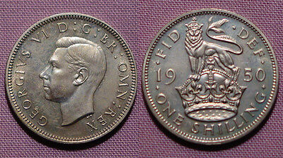 1950 KING GEORGE VI PROOF ENGLISH SHILLING - aFDC