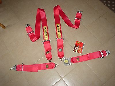 SABELT FIA 4 POINT HARNESS race rally car sprint,hill climb.2022 expiry RED