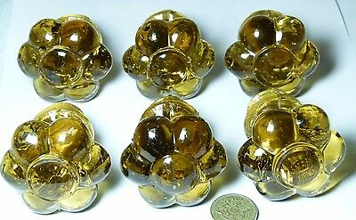 Set 6 X Quality Antique Amber Glass Chest/drawer/door Handle Knobs