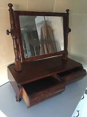 Antique Victorian Wood Free Standing Bathroom Table Mirror With Drawers