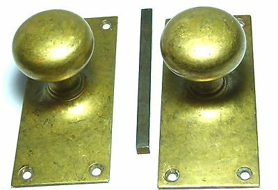 Pair Quality Antique Brass Round Door Handles Knobs & Large Backplates