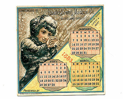 Victorian Trade Card LEADER SEWING MACHINE 1883 Jan-Mar Calendar Cleveland OH