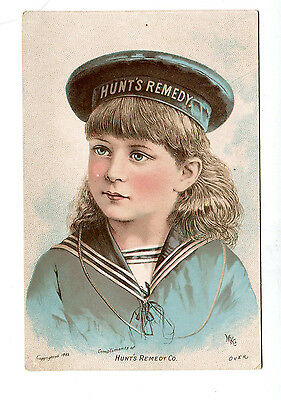 Victorian Trade Card HUNTS REMEDIES Quackery Patent Medicine Boy in Sailor Suit