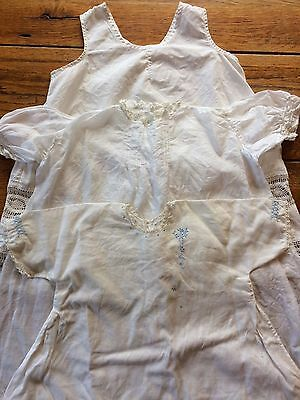 Lot 3 Vtg Baby or Doll Hand Sewn Cotton Muslin Dress Smocking Tatting Embroidery