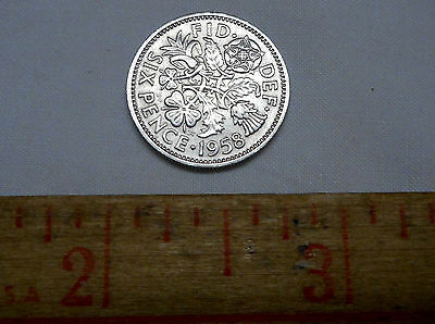 Great Britain UK 1958 Six 6 Pence Wedding Coin Rose Thistle Leek Shamrock 18