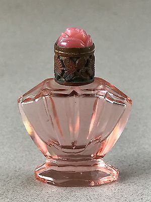 Antique Irice Czech Glass Mini Molded Glass Rose Top Pink Footed Perfume Bottle