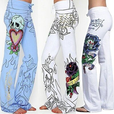 Women Baggy Skull Rose Printed Pants Hippie Wide Leg Boho Palazzo Trousers Lot