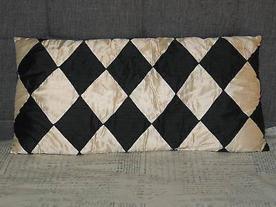 ANTIQUE VTG Pillow Black & Soft White Textured Silk Diamond Harlequin Pattern