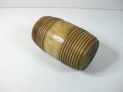 vintage treen wood barrel shaped trinket box pot container turned wooden