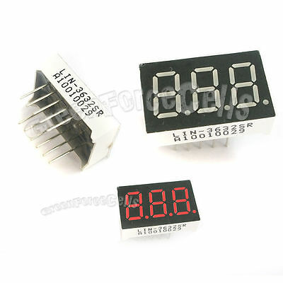 "5 pcs 0.36"" 7 Segment 3 Digit Super Red LED Display Common Anode 11 Pins"