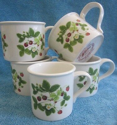 PORTMEIRION Summer Strawberries 4 TEA CUPS & 1 COFFEE CUP