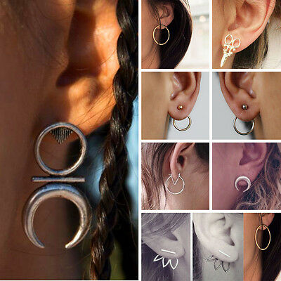 Women Boho Earrings Punk Geometric Moon Ear Stud Vintage Tribal Ethnic Jewelry