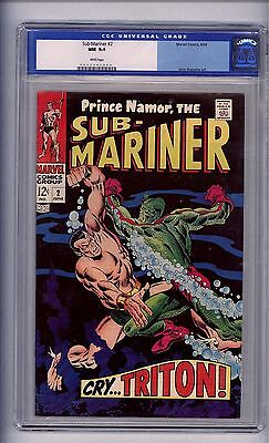 Cgc Sub-Mariner # 2 Nm 9.4 White Pages Old Lable, 1968 Triton