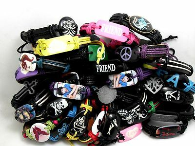 30 mix MEN's women's Leather Bracelet Wristbands wholesale jewelry lots