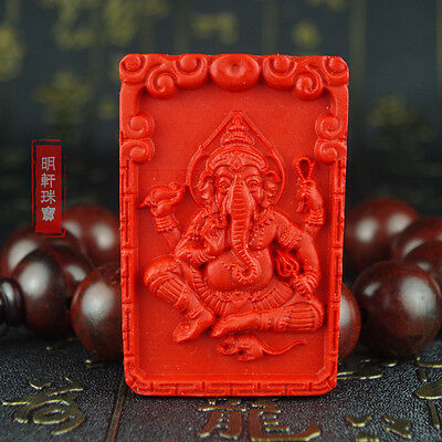 Natural Red Cinnabar Carving Lacquer Ganesha Elephant Holy Pendant For Necklace