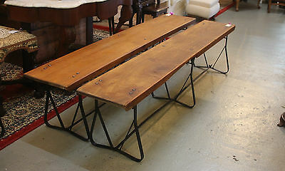 Rustic Vintage Folding Hardwood & Metal Bench - One Of Two Similar