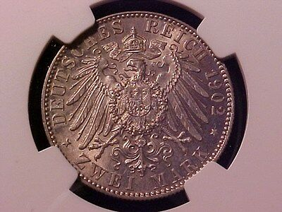 Germany States Saxony 2 Marks Silver 1902-E Ms-64 Ngc Albert's Death Choice
