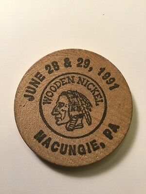 Vintage Wooden Nickel 1991 Macungie Pennsylvania PA Local Historical Collectible