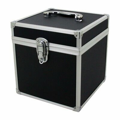 "Cube Shaped Hard Black Aluminium Flight Case 7"" Vinyl record CD Camera Jewellery"