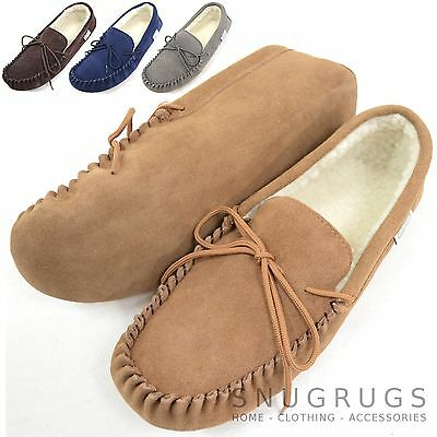 Ladies / Womens Genuine Suede Moccasin Sheepskin Wool Slipper Soft Suede Sole