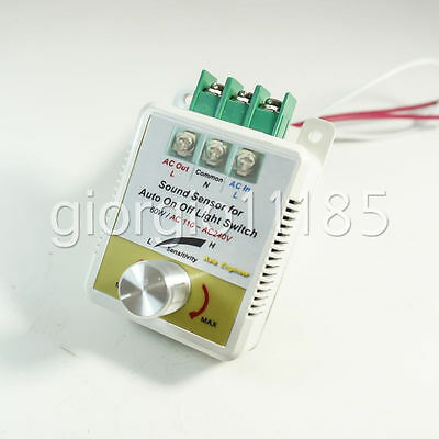 US Stock Auto On Off Light Switch Sound Voice Control Sensor For AC110V
