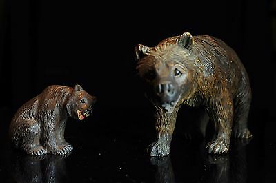 Antique Black Forest Wooden Grizzly Bear & Her Cub Swiss Carving