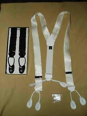 Tuxedo Suit 1.50 Formal 100% Silk Suspenders Braces 1 1/2 Inch White New