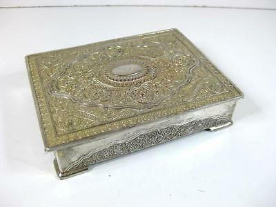 Vintage ornate silver tone cast metal trinket box / cigarette box