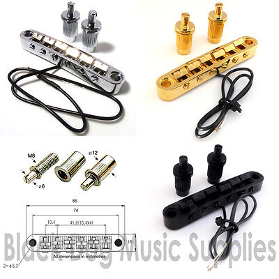 Tune-O-Matic Piezo Guitar bridge Pickup, in Chrome, Black, or Gold