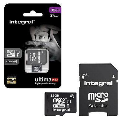 32GB Integral MicroSD SDHC Memory Card 40MB/s UHS 1 Class 10 with Adapter - 32GB