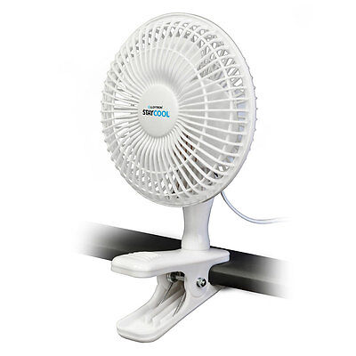 """Lloytron F1001 'STAY COOL' 6"""" 15cm Large Clip Fan with 2 Speed Control White NEW"""