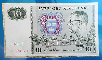 Uncirculated 10 TIO KRONER 1979 Banknotes All Nations Sweden Sveriges Riksbank