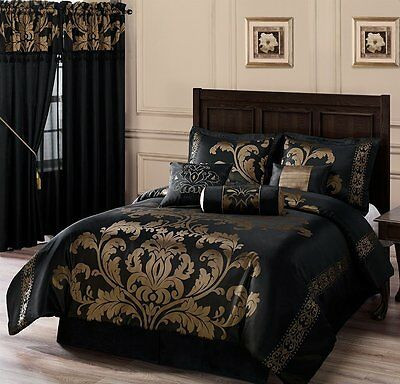 7-Piece Jacquard Floral Comforter Set Bed-In-A-Bag Queen Black/Gold