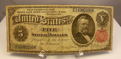 1891 US $5 Dollar Grant Silver Certificate Note Paper Money ~ Very Good