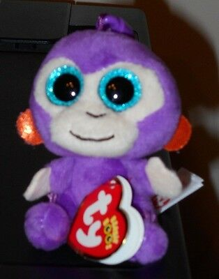 Ty Beanie Boo's Key Clip ~ GRAPES the Purple Monkey ~ NEW ~ MINT with MINT TAGS