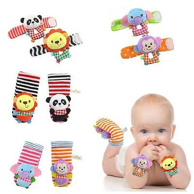 Baby Infant Cute Animal Wrist Foot Sock Rattles Soft Developmental Toys Finders