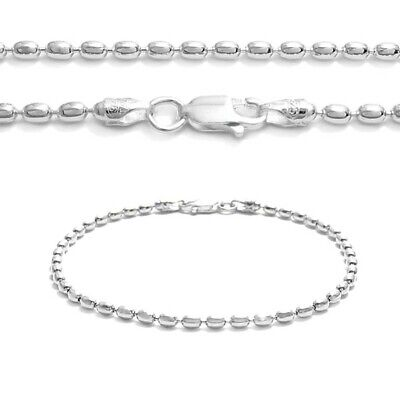 925 Sterling Silver 2mm Oval Rice Bead Chain Necklace or Bracelet 230 Gauge