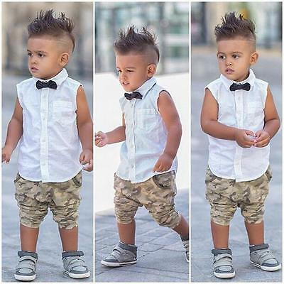Toddler Kids Baby Boy Bow Shirt Tops+Camouflage Shorts Pants Outfit Clothes Set